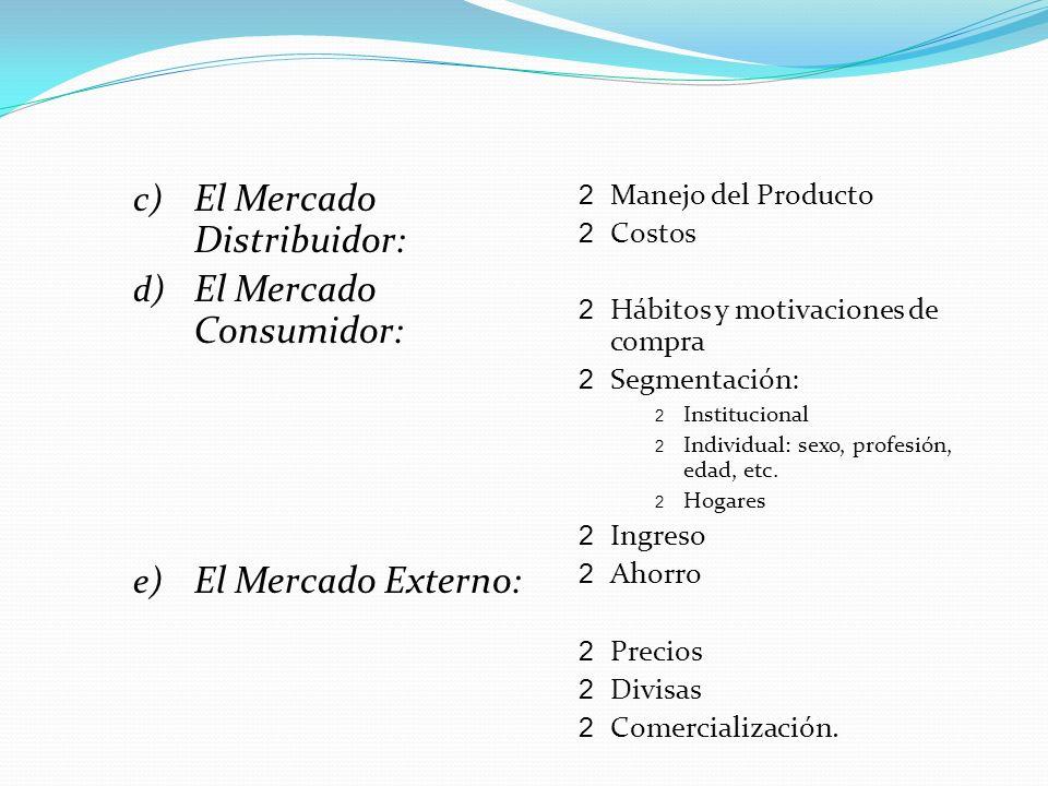 El Mercado Distribuidor: El Mercado Consumidor: