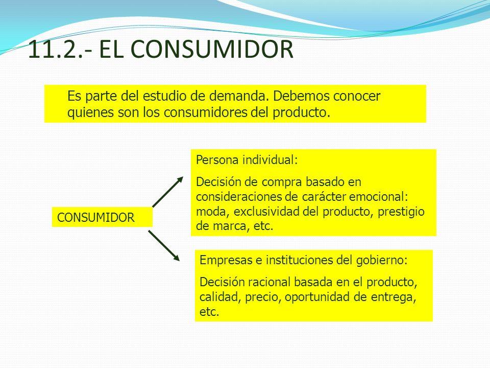11.2.- EL CONSUMIDOR Es parte del estudio de demanda. Debemos conocer quienes son los consumidores del producto.