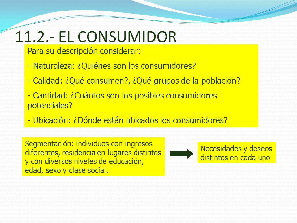 11.2.- EL CONSUMIDOR Para su descripción considerar: