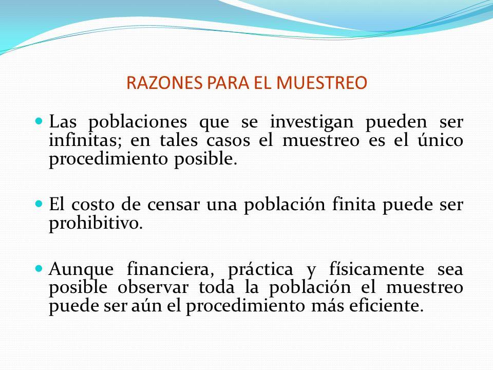 RAZONES PARA EL MUESTREO