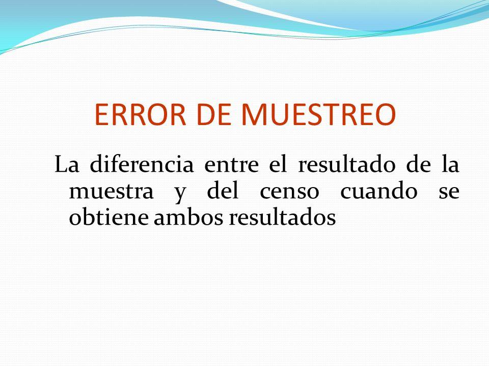 ERROR DE MUESTREOLa diferencia entre el resultado de la muestra y del censo cuando se obtiene ambos resultados.