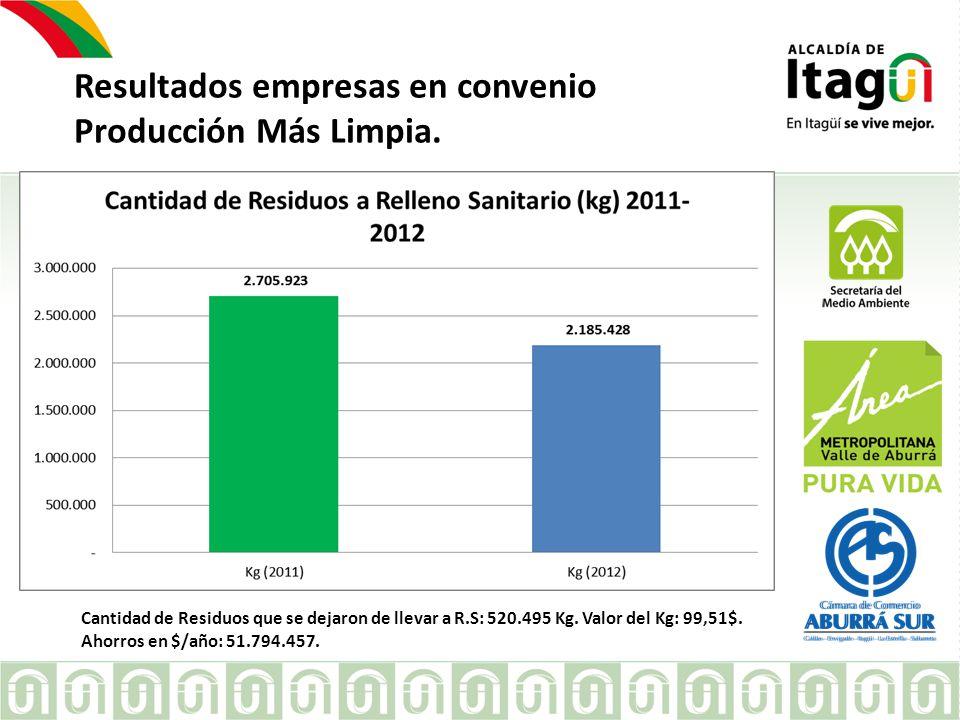 Resultados empresas en convenio Producción Más Limpia.