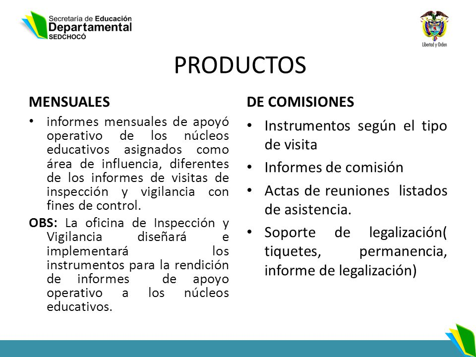 PRODUCTOS MENSUALES DE COMISIONES Instrumentos según el tipo de visita