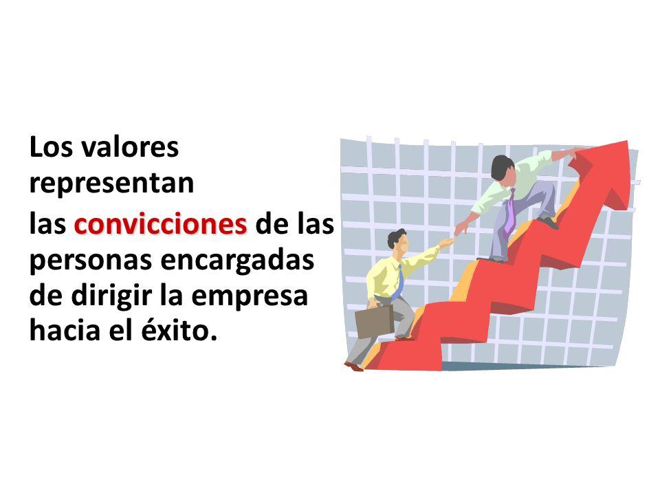 Valores Los valores representan las convicciones de las personas encargadas de dirigir la empresa hacia el éxito.