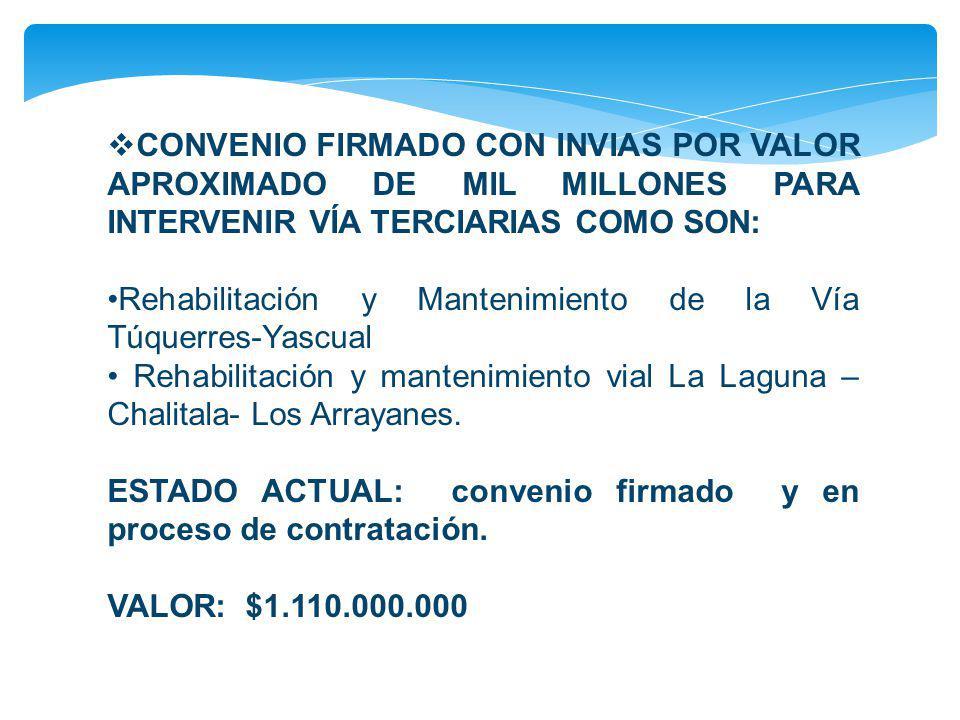 CONVENIO FIRMADO CON INVIAS POR VALOR APROXIMADO DE MIL MILLONES PARA INTERVENIR VÍA TERCIARIAS COMO SON: