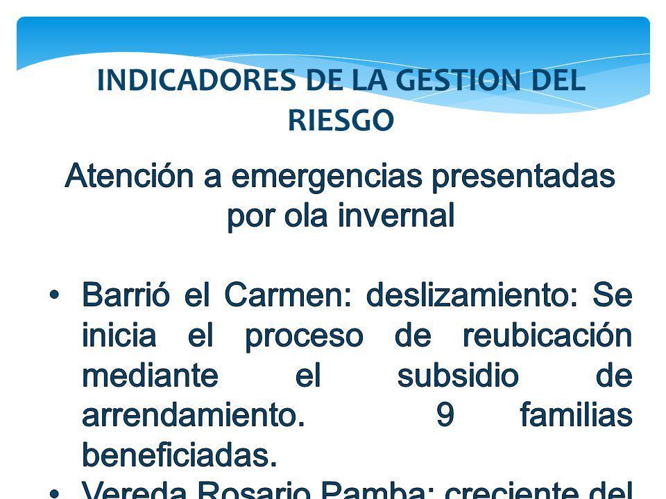 INDICADORES DE LA GESTION DEL RIESGO
