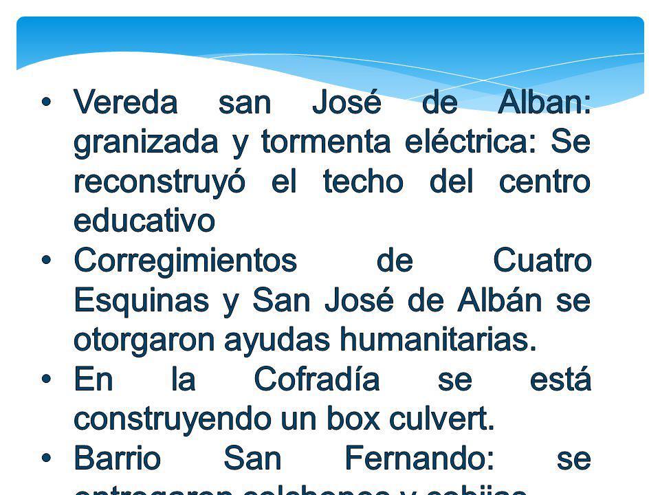 Vereda san José de Alban: granizada y tormenta eléctrica: Se reconstruyó el techo del centro educativo