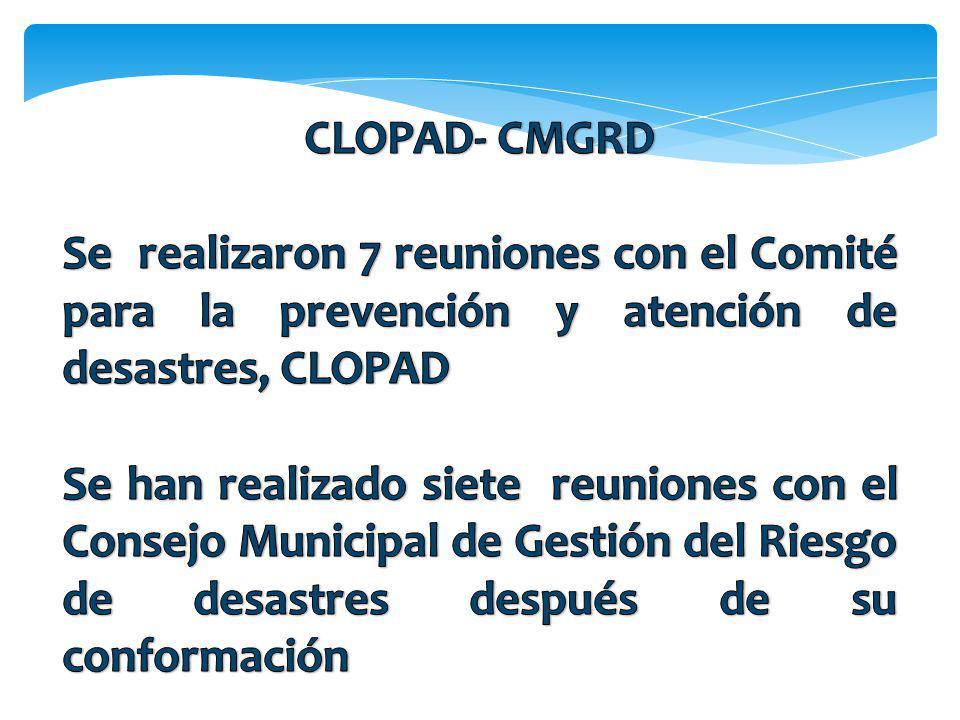 CLOPAD- CMGRD Se realizaron 7 reuniones con el Comité para la prevención y atención de desastres, CLOPAD.