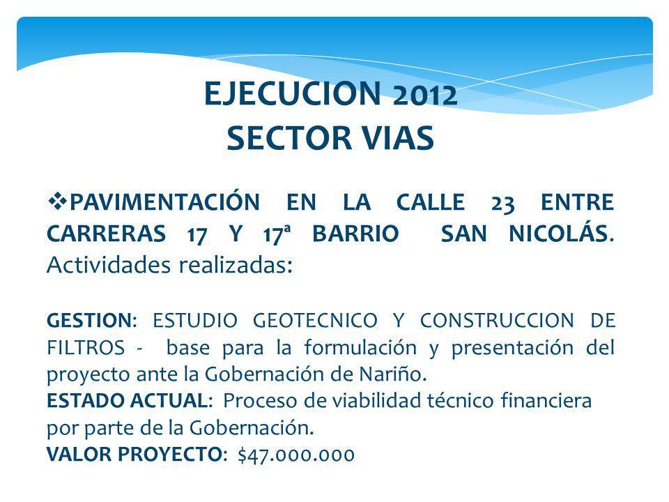 EJECUCION 2012 SECTOR VIAS. PAVIMENTACIÓN EN LA CALLE 23 ENTRE CARRERAS 17 Y 17ª BARRIO SAN NICOLÁS. Actividades realizadas: