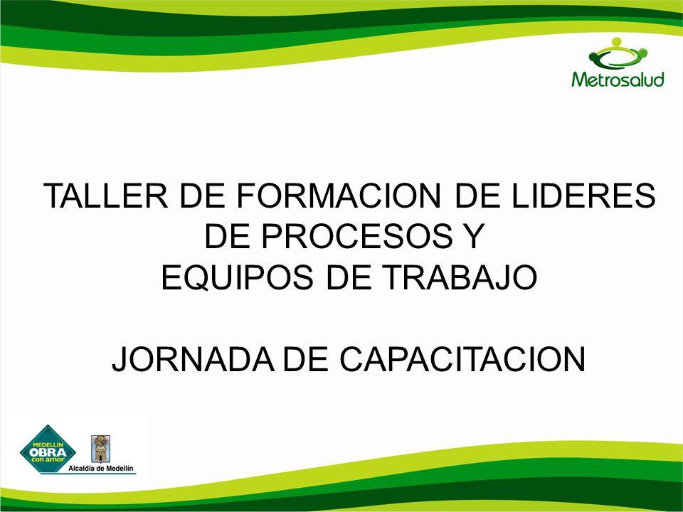 TALLER DE FORMACION DE LIDERES DE PROCESOS Y EQUIPOS DE TRABAJO