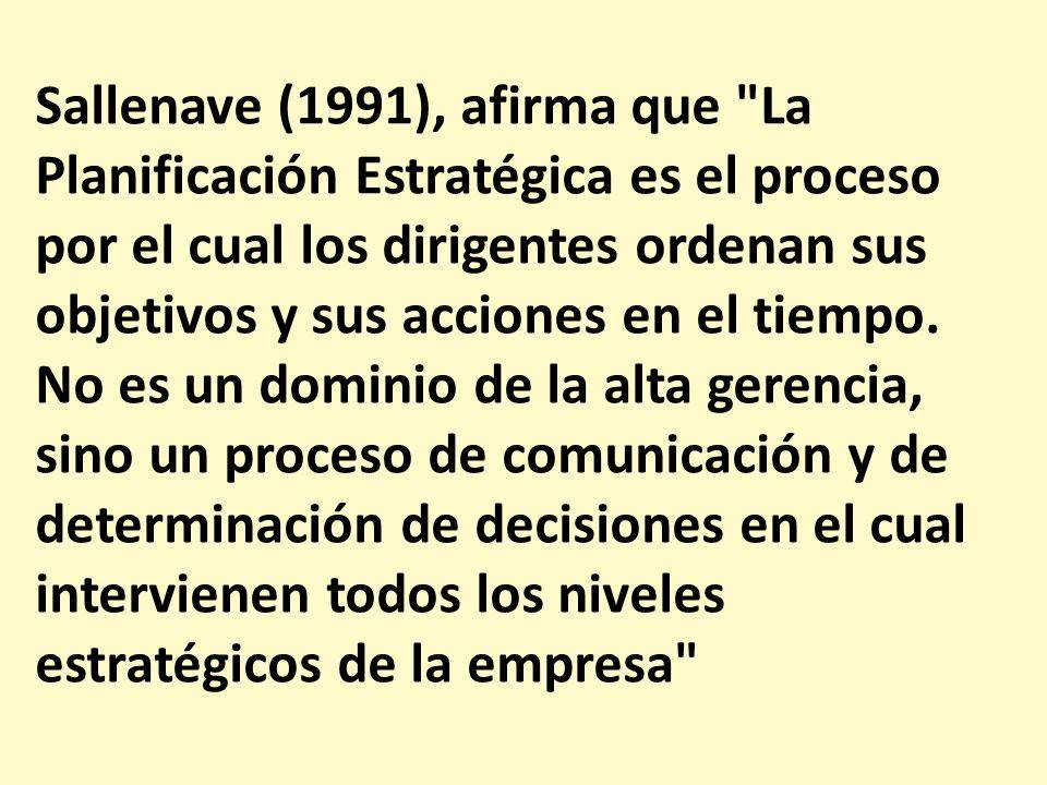 Sallenave (1991), afirma que La Planificación Estratégica es el proceso por el cual los dirigentes ordenan sus objetivos y sus acciones en el tiempo.