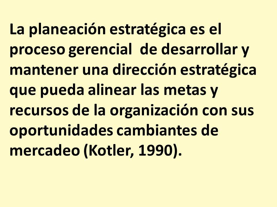 La planeación estratégica es el proceso gerencial de desarrollar y mantener una dirección estratégica que pueda alinear las metas y recursos de la organización con sus oportunidades cambiantes de mercadeo (Kotler, 1990).
