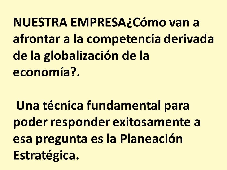 NUESTRA EMPRESA¿Cómo van a afrontar a la competencia derivada de la globalización de la economía .