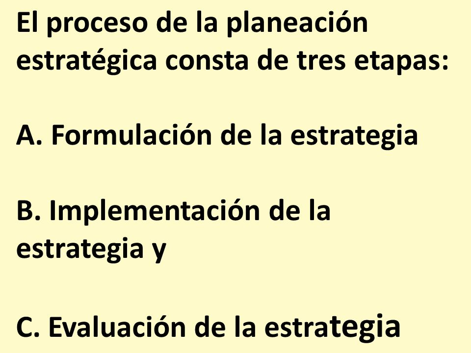 El proceso de la planeación estratégica consta de tres etapas:
