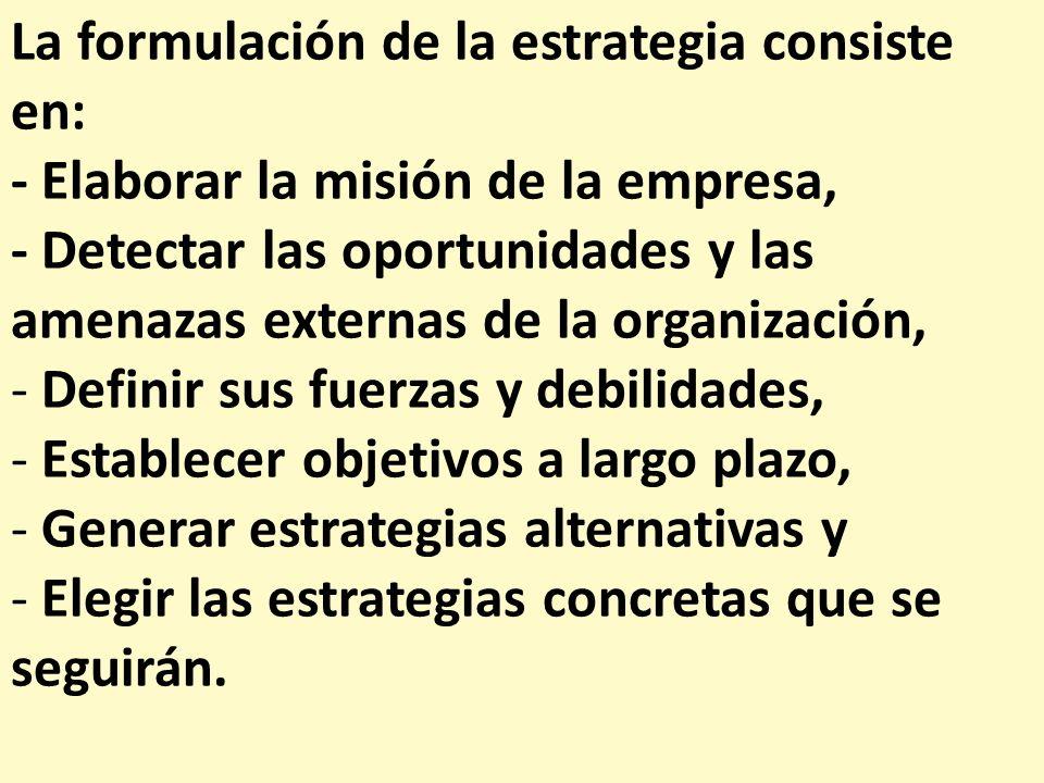 La formulación de la estrategia consiste en: