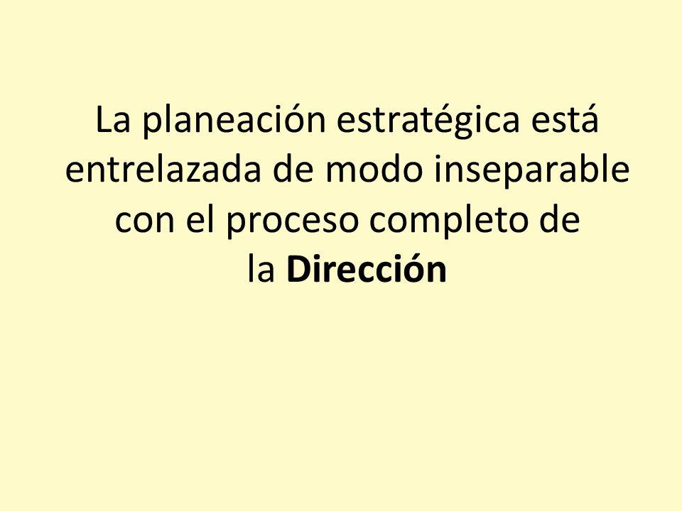 La planeación estratégica está entrelazada de modo inseparable con el proceso completo de la Dirección