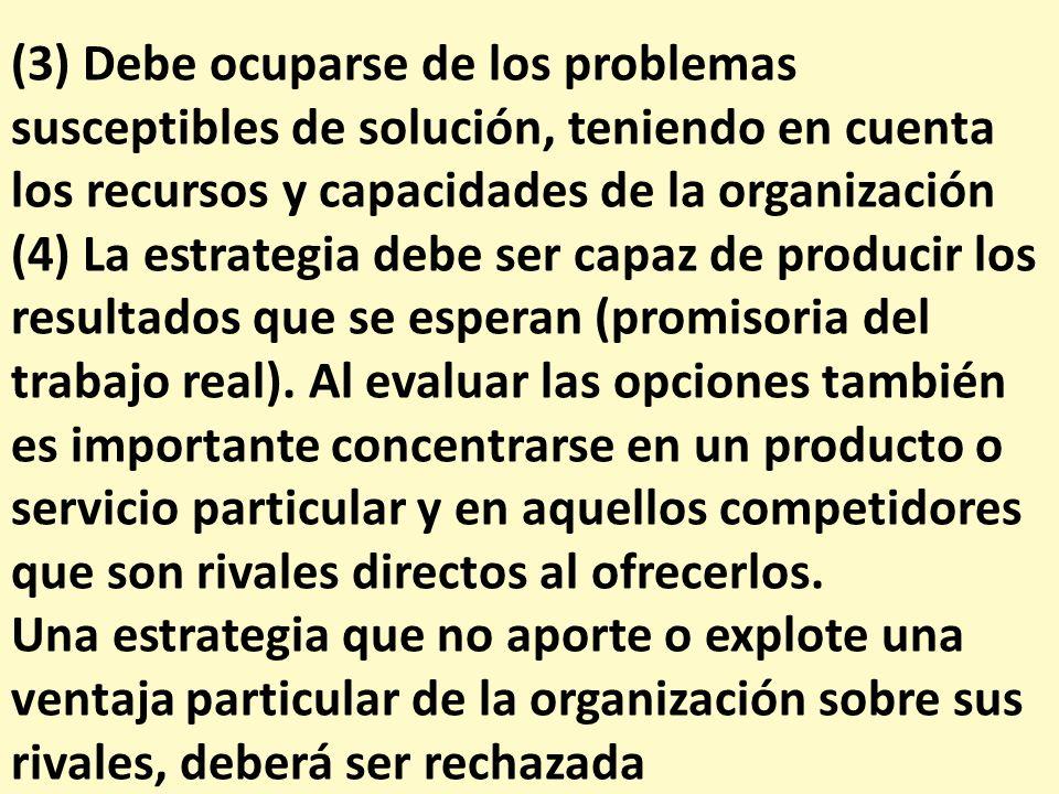 (3) Debe ocuparse de los problemas susceptibles de solución, teniendo en cuenta los recursos y capacidades de la organización
