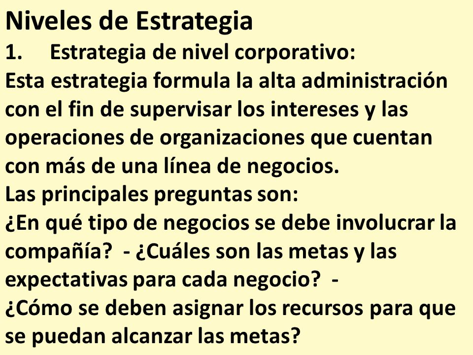 Niveles de Estrategia 1. Estrategia de nivel corporativo: