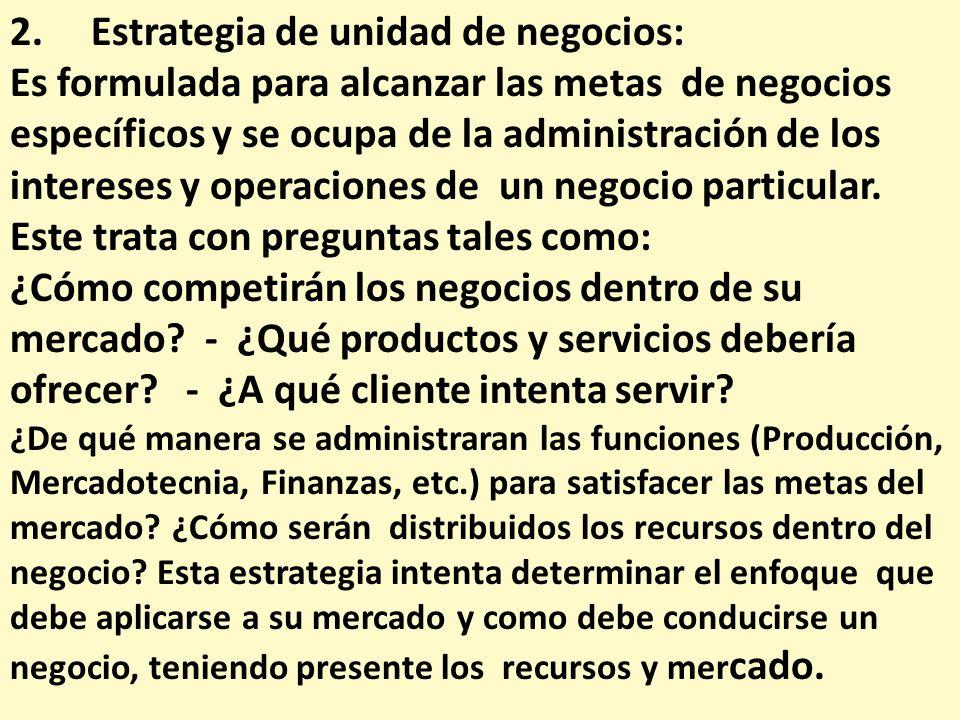 2. Estrategia de unidad de negocios: