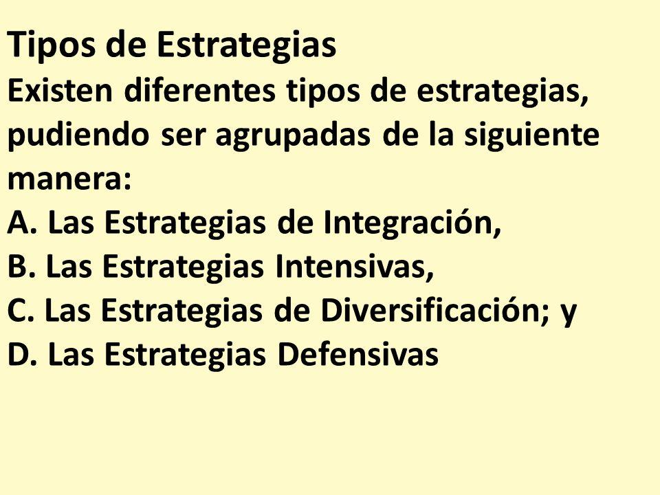Tipos de Estrategias Existen diferentes tipos de estrategias, pudiendo ser agrupadas de la siguiente manera: