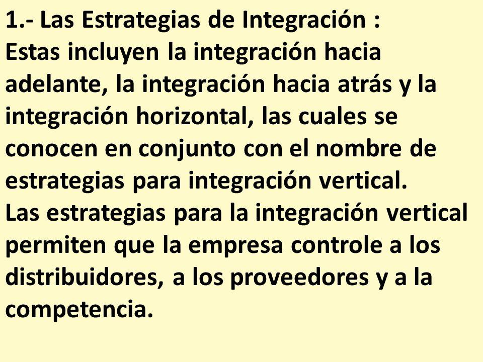 1.- Las Estrategias de Integración :