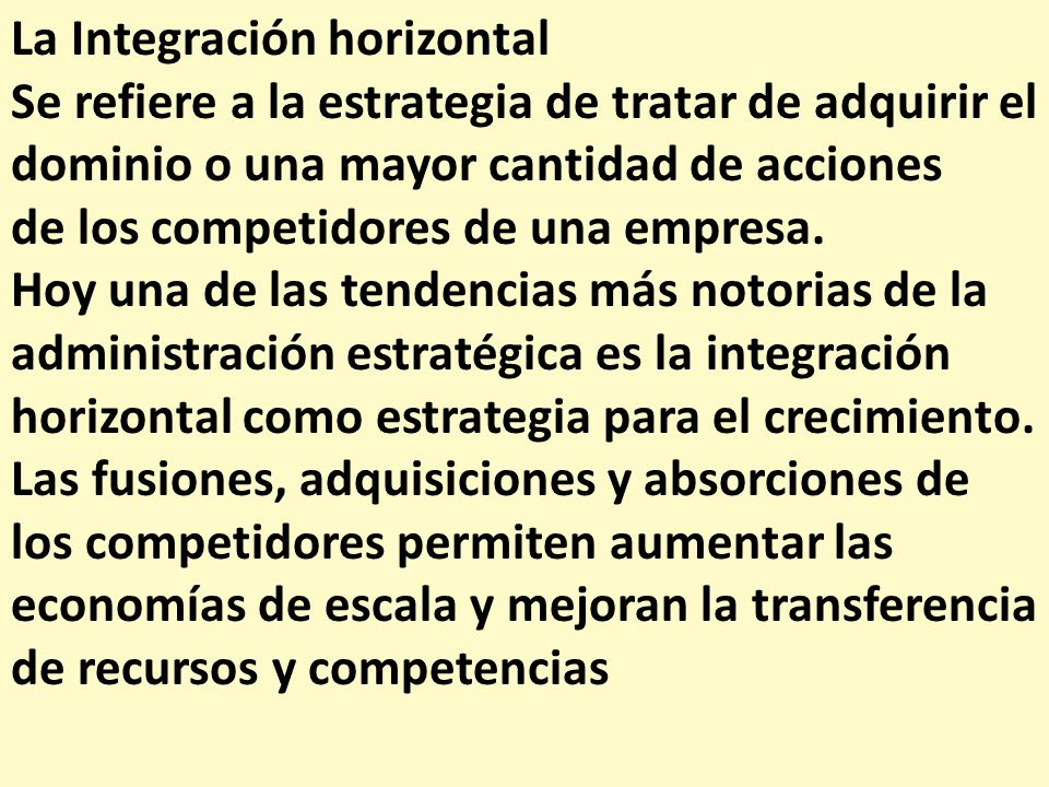 La Integración horizontal