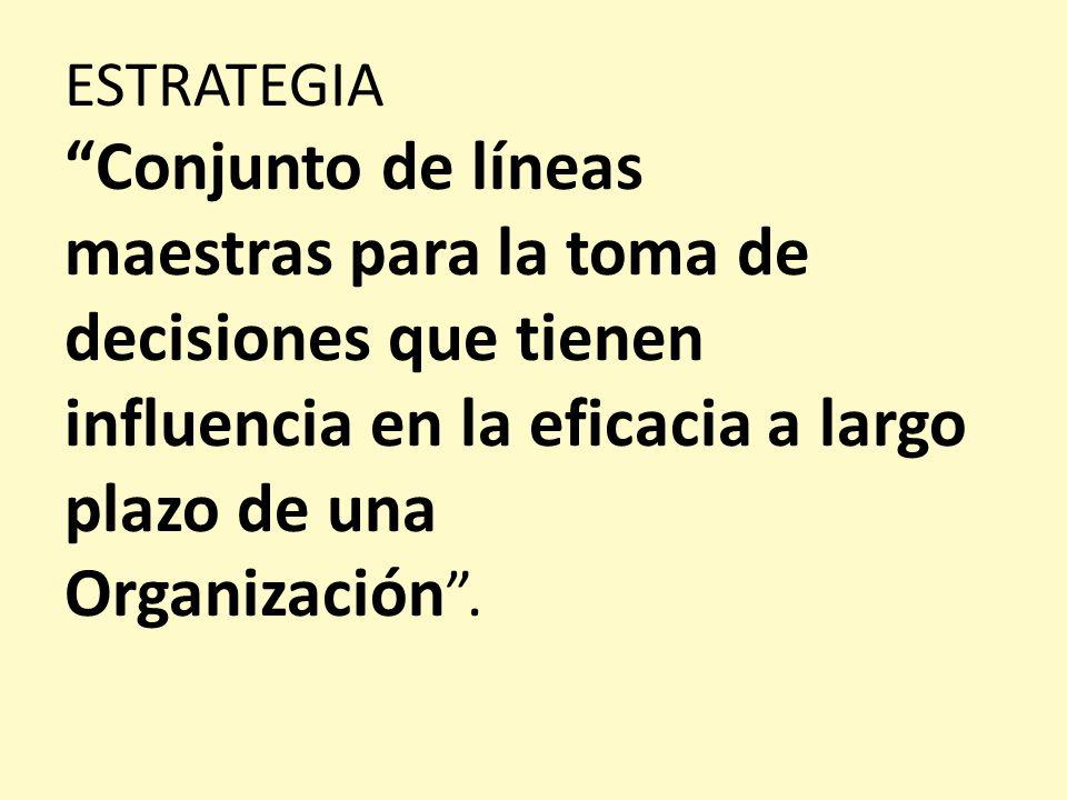 ESTRATEGIA Conjunto de líneas maestras para la toma de decisiones que tienen influencia en la eficacia a largo plazo de una Organización .