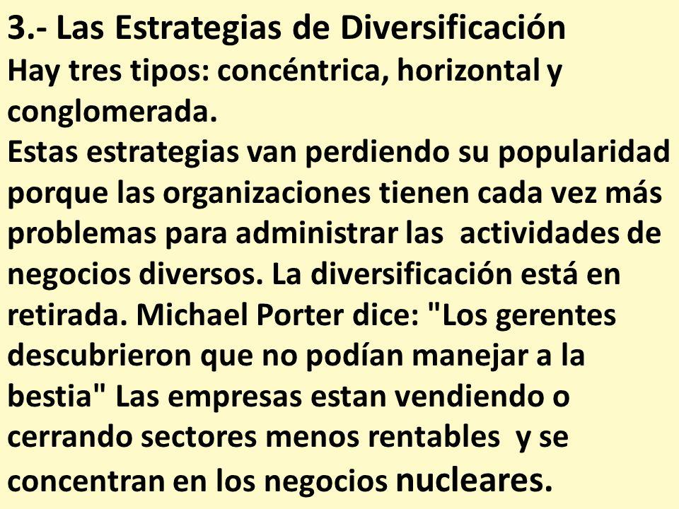 3.- Las Estrategias de Diversificación