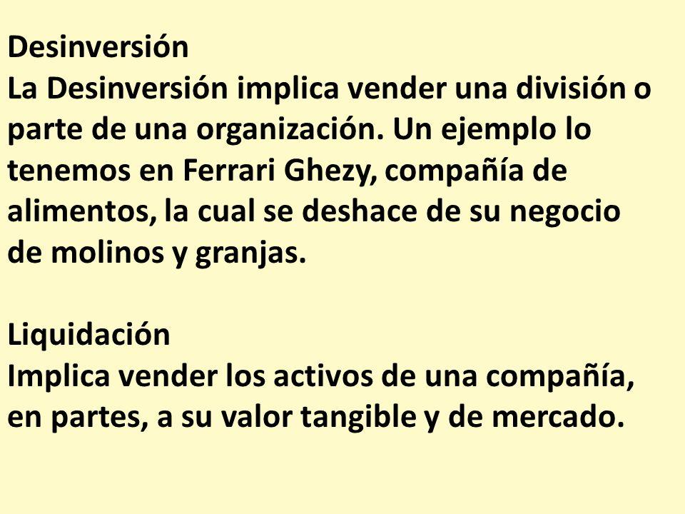 Desinversión La Desinversión implica vender una división o parte de una organización. Un ejemplo lo.
