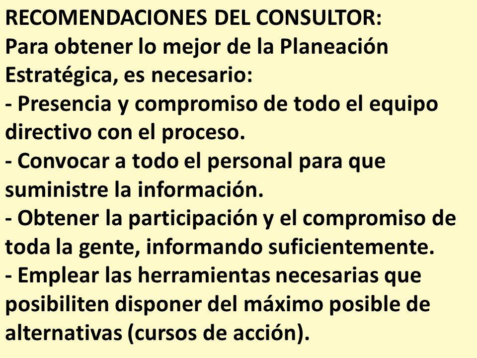 RECOMENDACIONES DEL CONSULTOR: