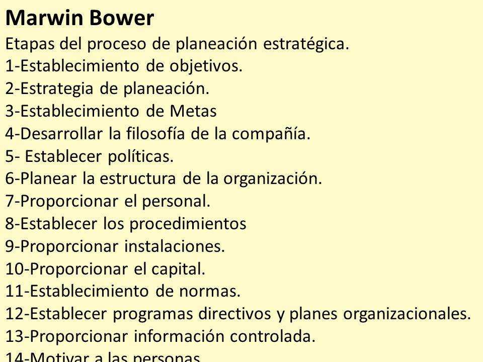 Marwin Bower Etapas del proceso de planeación estratégica.