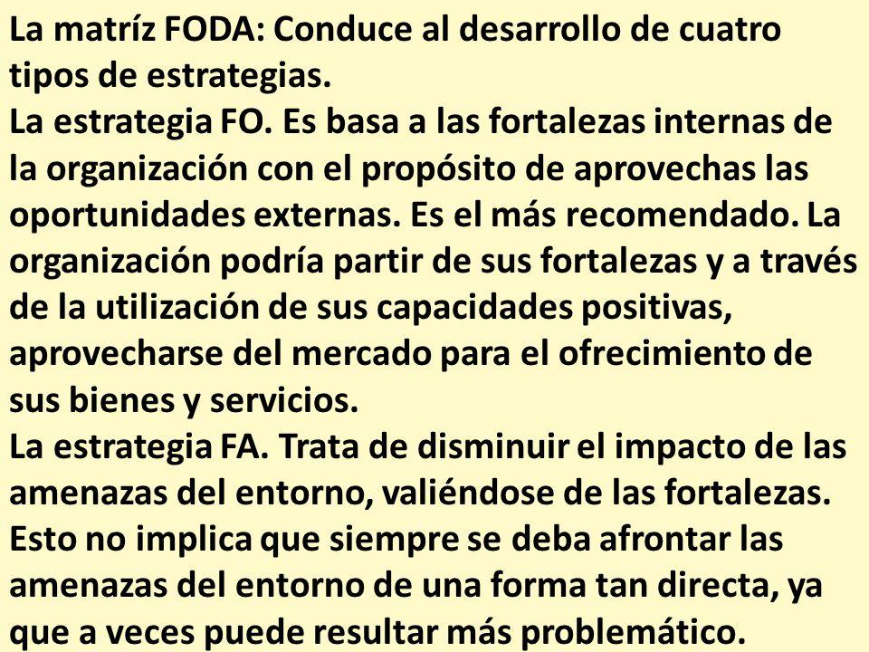 La matríz FODA: Conduce al desarrollo de cuatro tipos de estrategias.