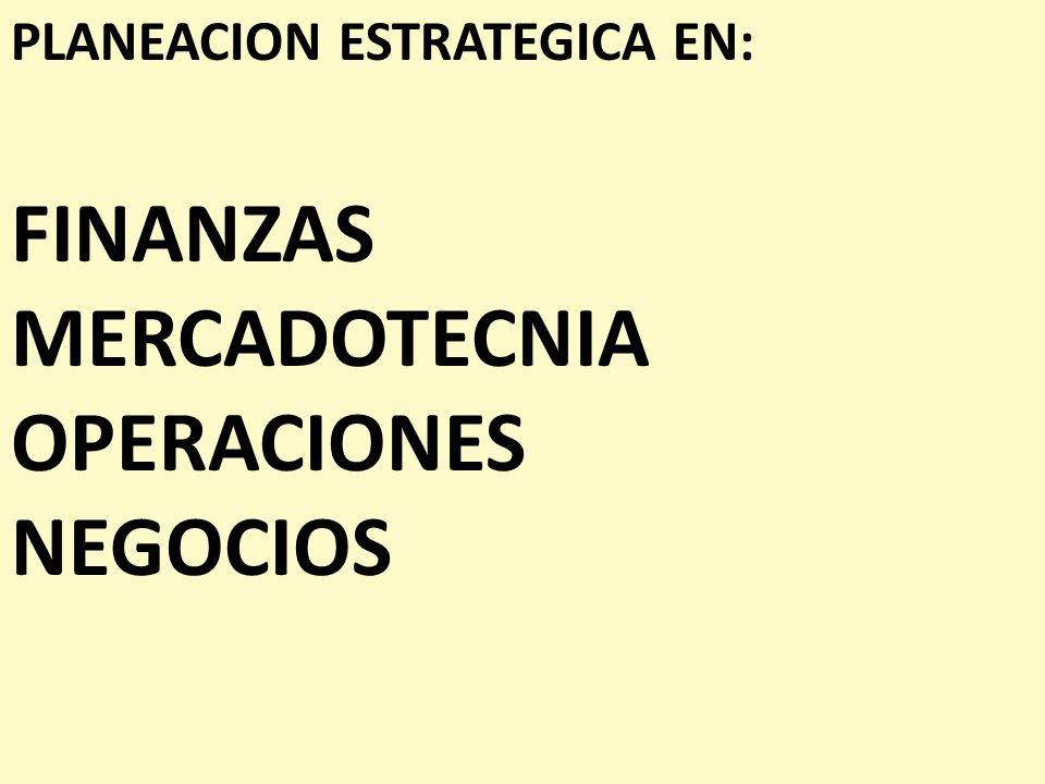 PLANEACION ESTRATEGICA EN: