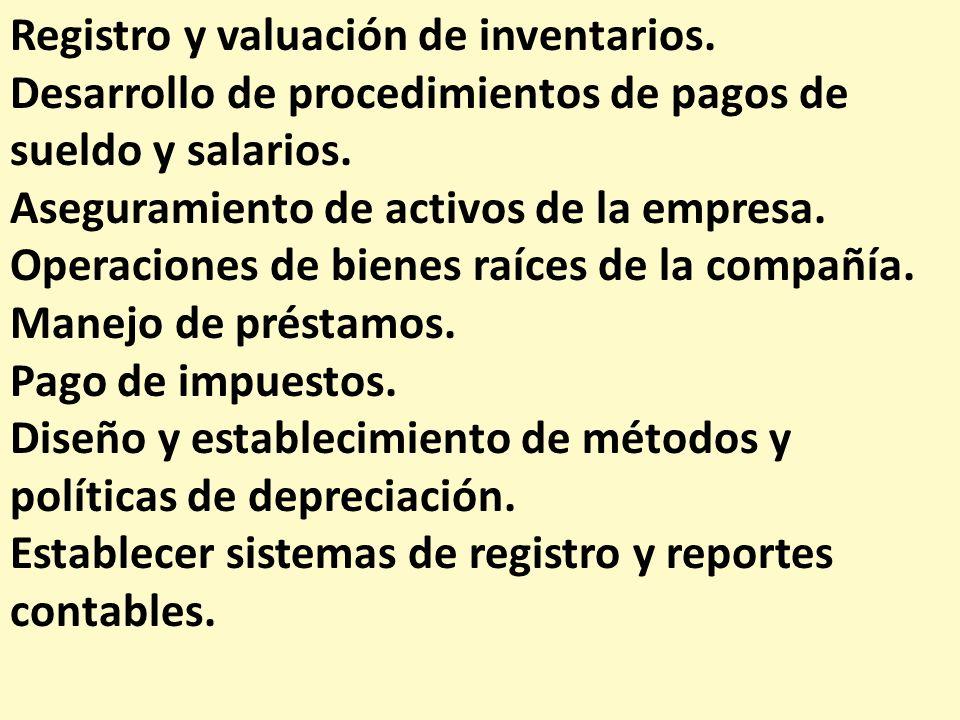 Registro y valuación de inventarios.