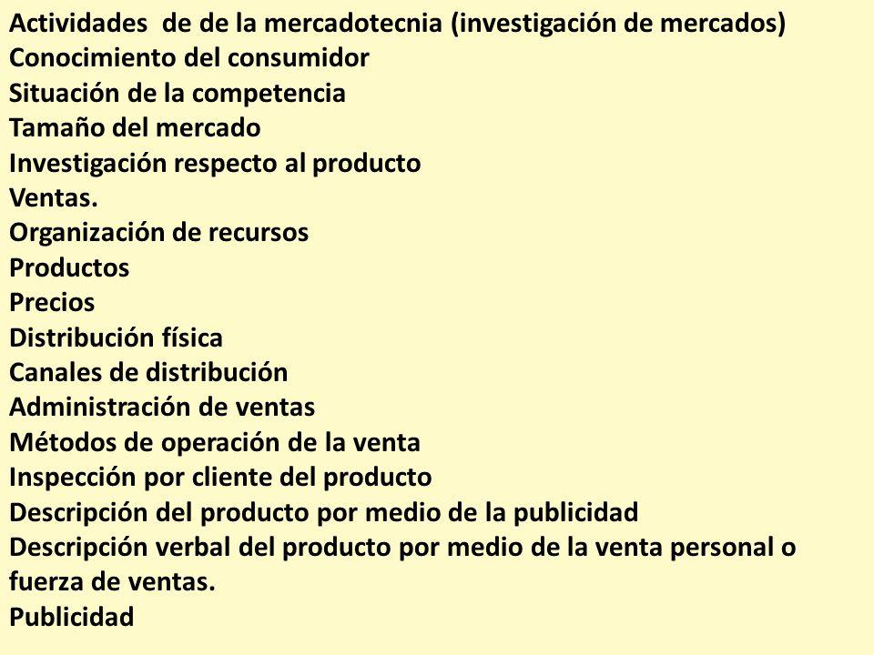 Actividades de de la mercadotecnia (investigación de mercados)