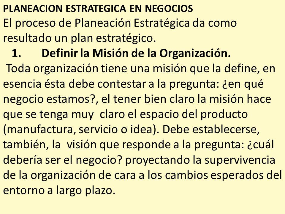 1. Definir la Misión de la Organización.