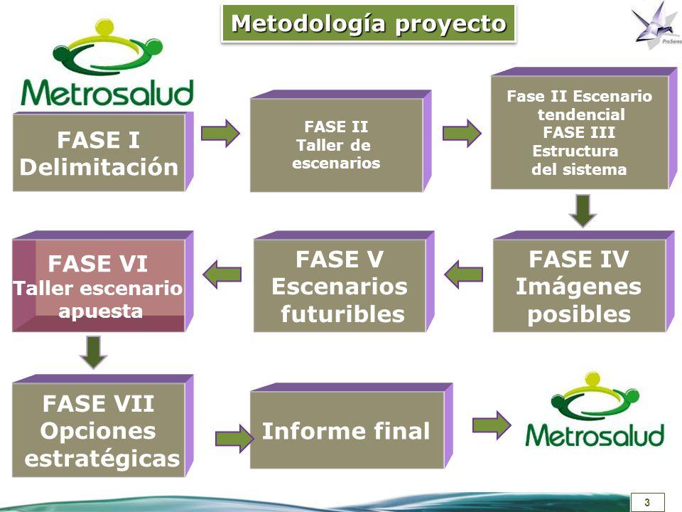Metodología proyecto FASE I Delimitación FASE VI FASE V Escenarios