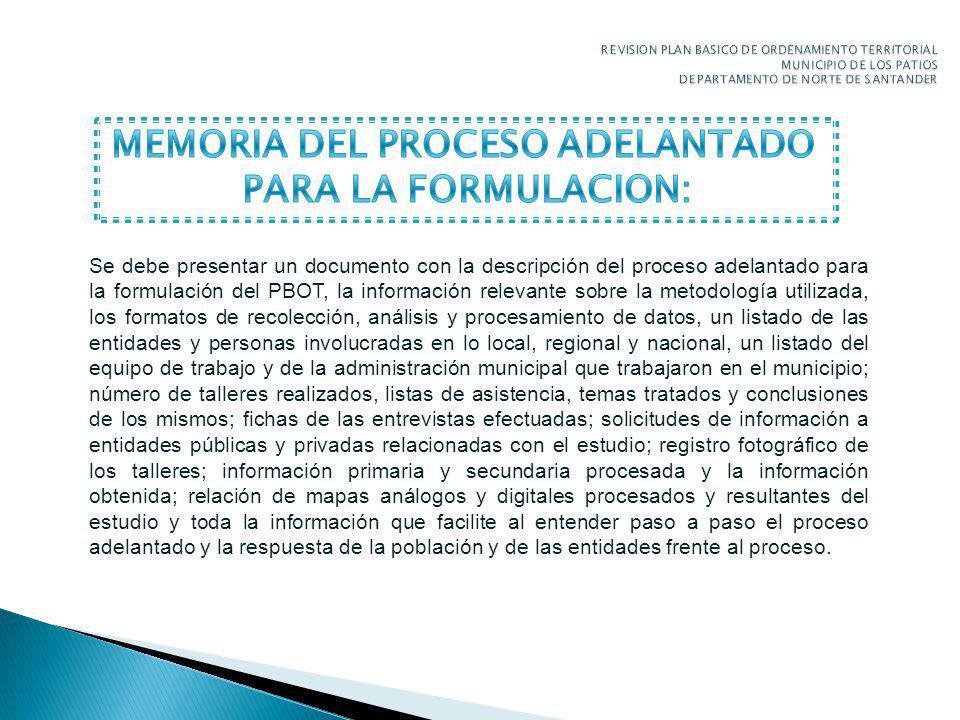 MEMORIA DEL PROCESO ADELANTADO