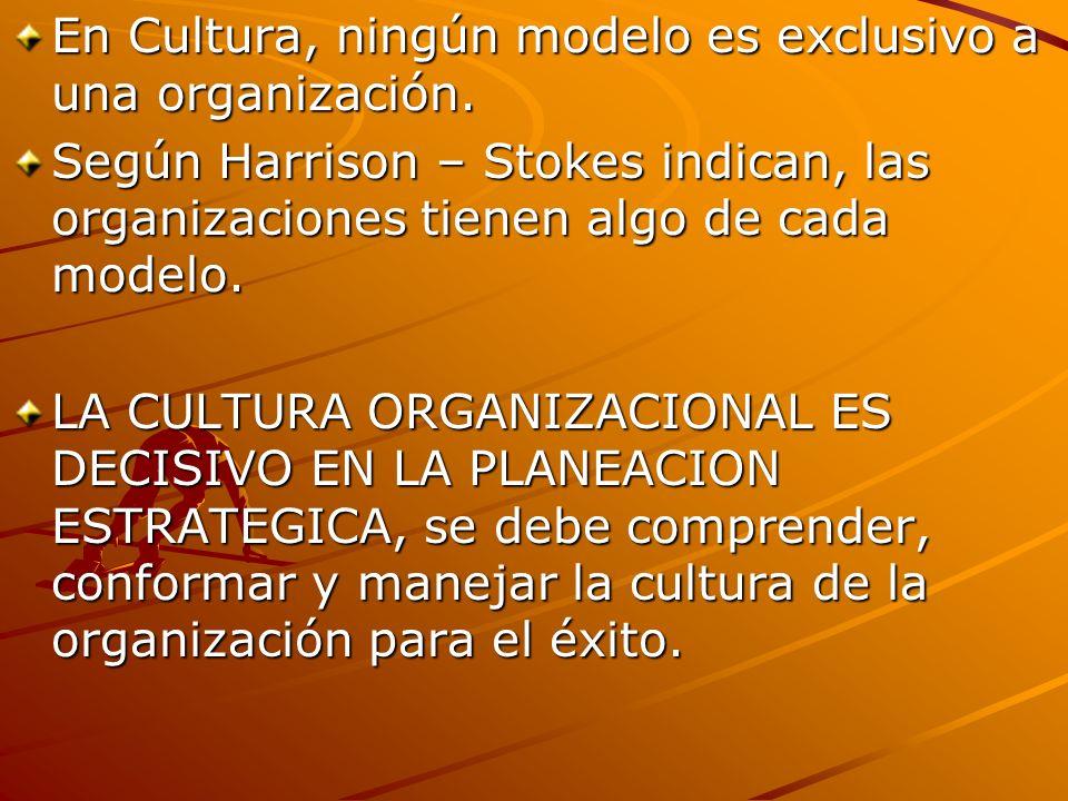 En Cultura, ningún modelo es exclusivo a una organización.