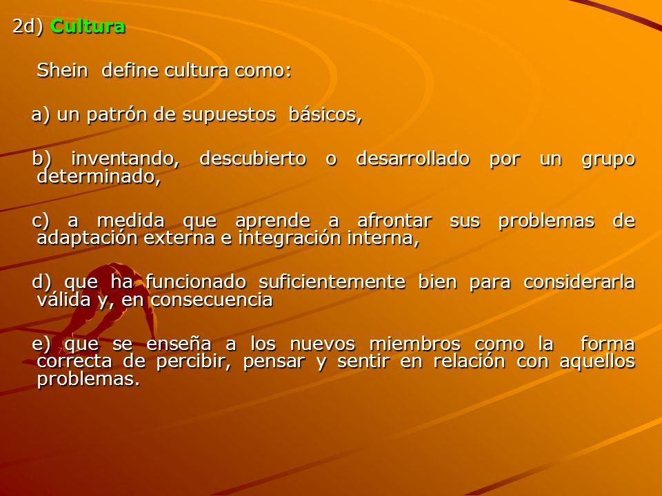 2d) Cultura Shein define cultura como: a) un patrón de supuestos básicos, b) inventando, descubierto o desarrollado por un grupo determinado,