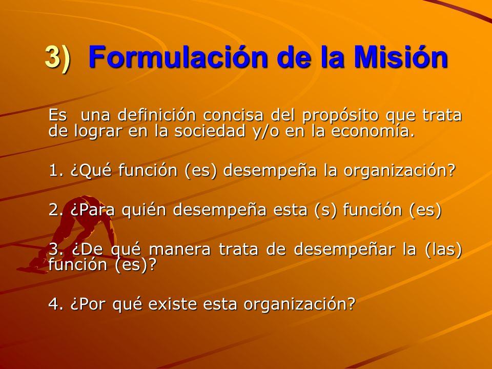 3) Formulación de la Misión