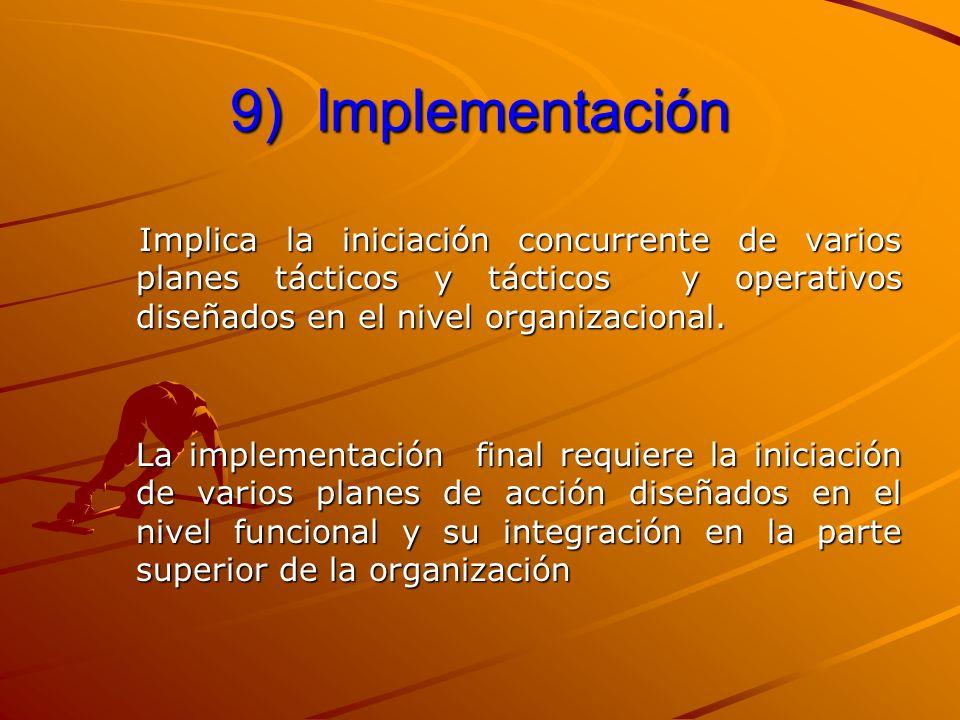 9) Implementación Implica la iniciación concurrente de varios planes tácticos y tácticos y operativos diseñados en el nivel organizacional.