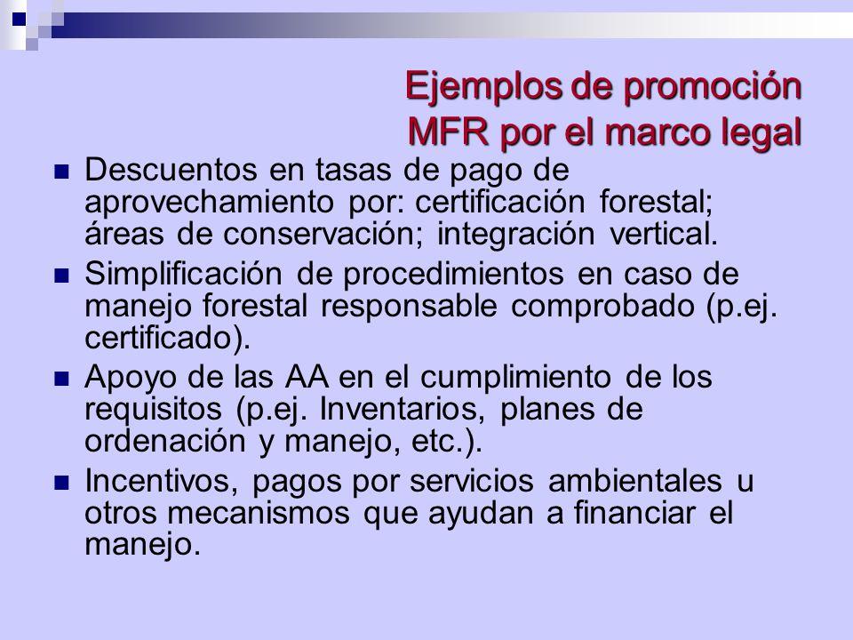 Ejemplos de promoción MFR por el marco legal