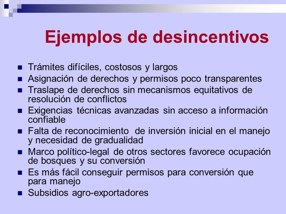 Ejemplos de desincentivos