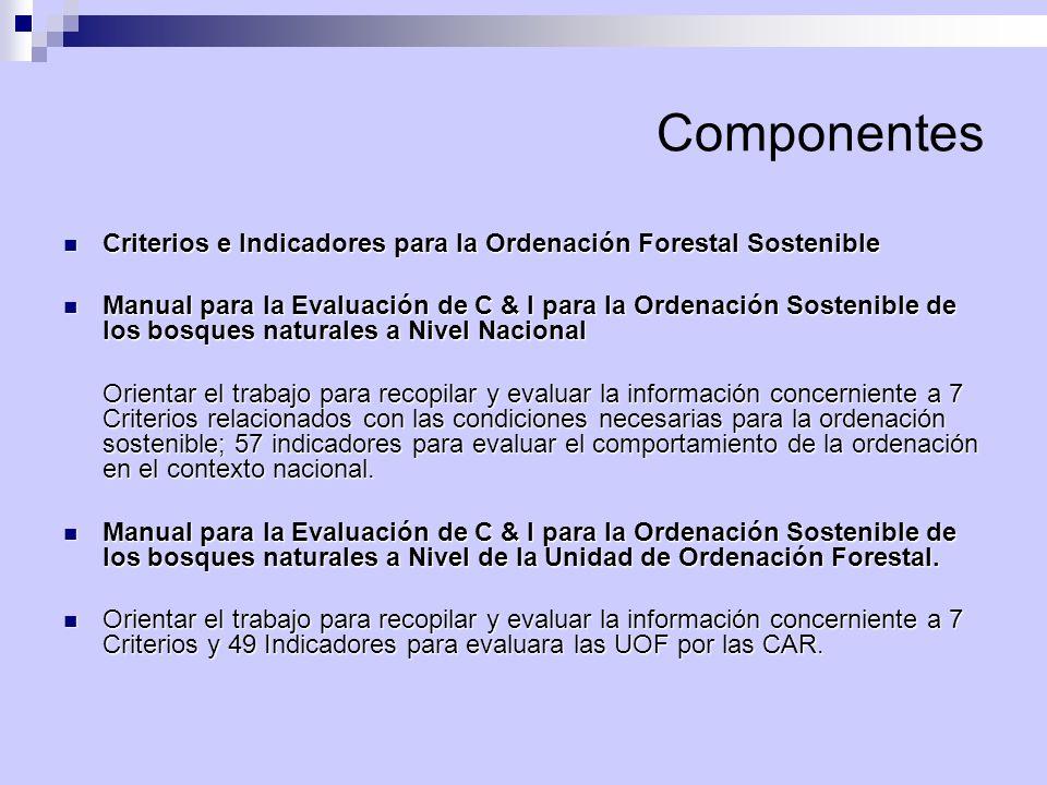 Componentes Criterios e Indicadores para la Ordenación Forestal Sostenible.