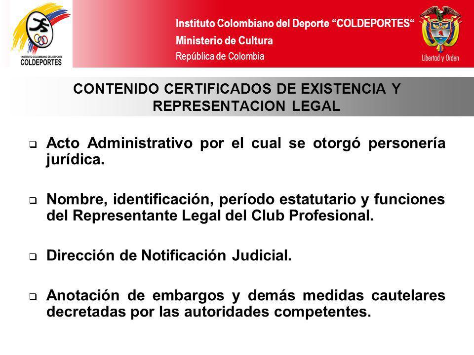 CONTENIDO CERTIFICADOS DE EXISTENCIA Y REPRESENTACION LEGAL