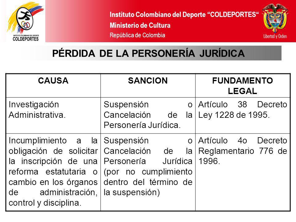 PÉRDIDA DE LA PERSONERÍA JURÍDICA