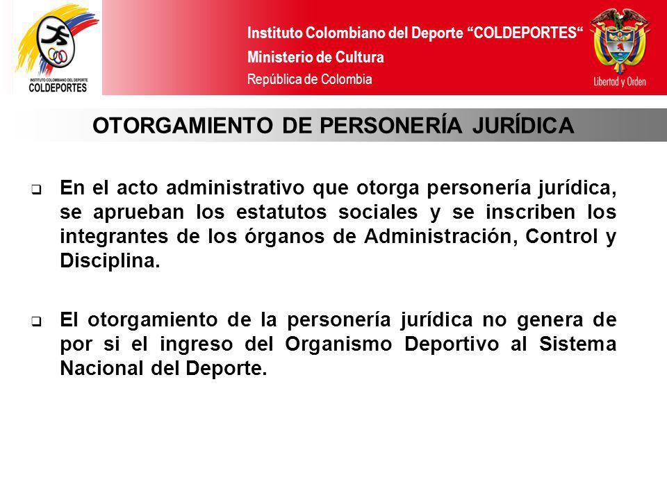 OTORGAMIENTO DE PERSONERÍA JURÍDICA