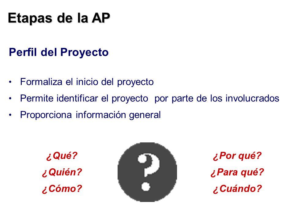 Etapas de la AP Perfil del Proyecto Formaliza el inicio del proyecto