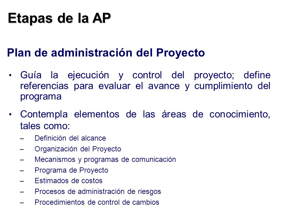 Etapas de la AP Plan de administración del Proyecto